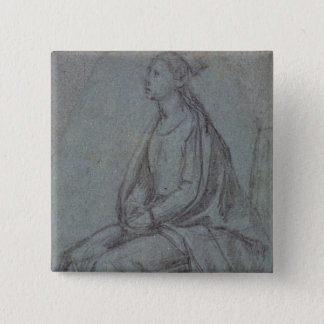 Seated Woman, c.1514 (black & white chalk on blue- Pinback Button