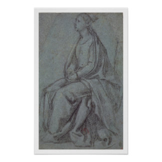 Seated Woman, c.1514 (black & white chalk on blue- Poster