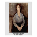 Seated Woman In Blue Blouse By Amedeo Modigliani Poster