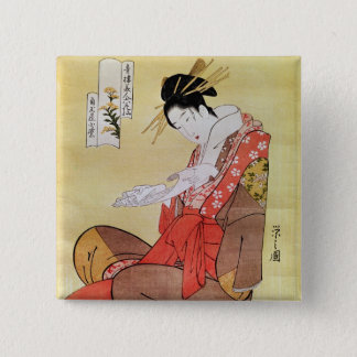 Seated Woman Reading Button