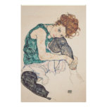 Seated Woman With Head On Knee Canvas Print