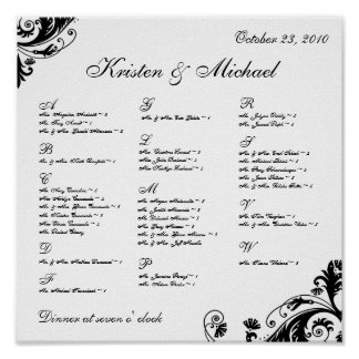 Seating Arrangement Chart Posters