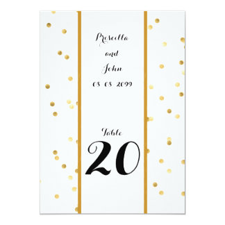 Seating Card, list behind,confetti gold,black Card