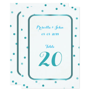 Seating Card, list behind,confetti,turquoise Card
