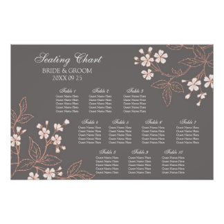 Seating Chart 10 Tables Grey Coral Floral Poster