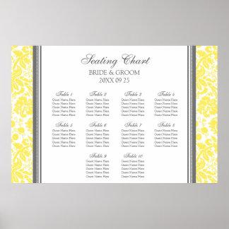 Seating Chart 10 Tables Grey Yellow Damask Print