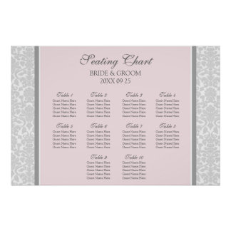 Seating Chart 10 Tables Pink Grey Damask