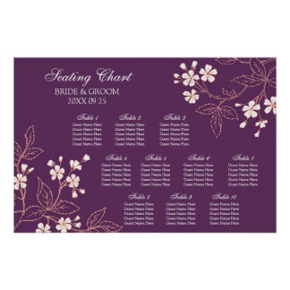 Seating Chart 10 Tables Plum Coral Floral Poster
