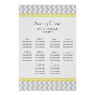 Seating Chart 10 Tables Yellow Grey Chevron Poster