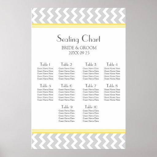 Seating Chart 10 Tables Yellow Grey Chevron Print
