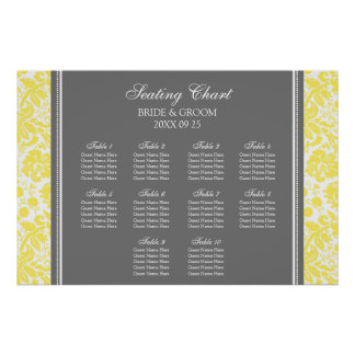 Seating Chart 10 Tables Yellow Grey Damask