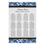 Seating Chart 12 Tables 96 Guest Blue Black Damask Posters