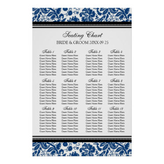 Seating Chart 12 Tables 96 Guest Blue Black Damask Poster