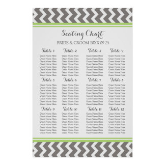 Seating Chart 12 Tables 96 Guest Lime Grey Chevron Poster