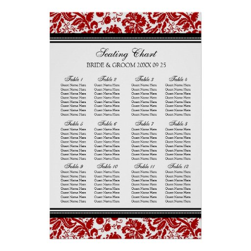 Seating Chart 12 Tables 96 Guest Red Black Damask Print