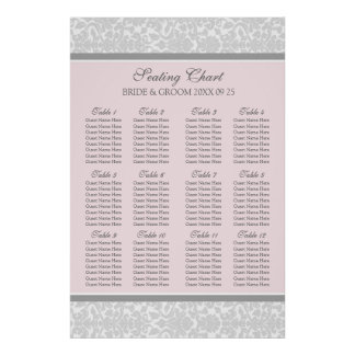 Seating Chart 12 Tables 96 Guests Pink Grey Damask Poster