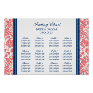 Seating Chart 12 Tables Coral Blue Damask Print