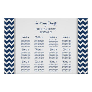 Seating Chart 12 Tables Grey Blue Chevron Poster