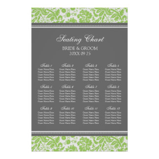 Seating Chart 12 Tables Lime Grey Damask