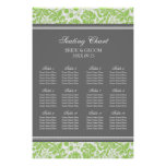 Seating Chart 12 Tables Lime Grey Damask Posters