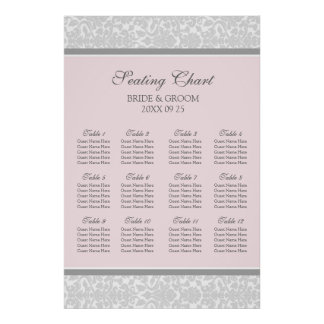 Seating Chart 12 Tables Pink Grey Damask