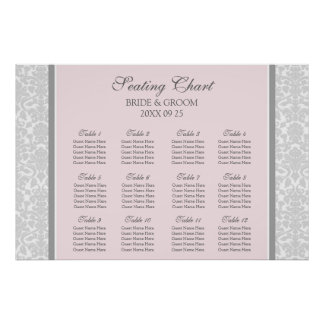 Seating Chart 12 Tables Pink Grey Damask Poster