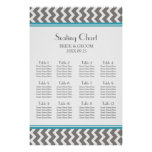 Seating Chart 12 Tables Teal Grey Chevron Posters
