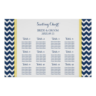 Seating Chart 12 Tables Yellow Blue Chevron Poster