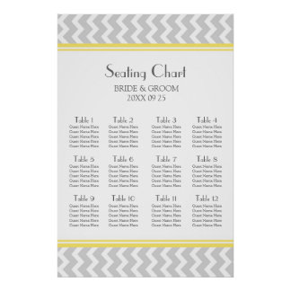 Seating Chart 12 Tables Yellow Grey Chevron Posters