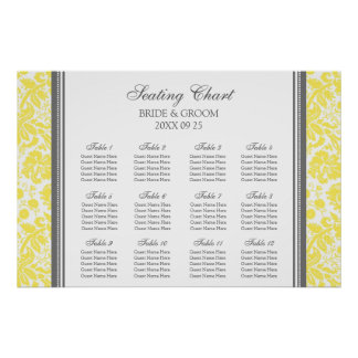 Seating Chart 12 Tables Yellow Grey Damask Poster