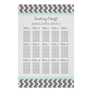 Seating Chart 15 Table 150 Guest Blue Grey Chevron Poster