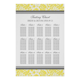Seating Chart 15 Tables 150 Guest Yellow Damask Poster