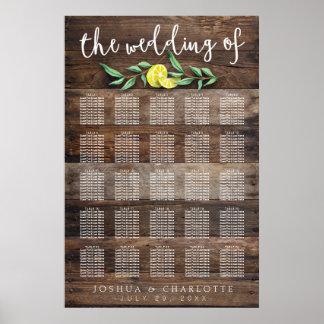 SEATING CHART 201-250 | Rustic Wood Lemon Wedding