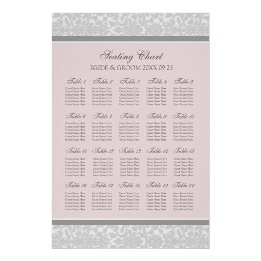 Seating Chart 20 Tables 120 Guest Pink Gray Damask