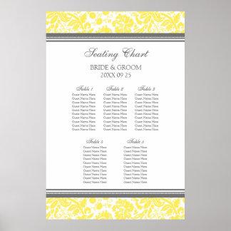 Seating Chart 5 Tables Grey Yellow Damask Print