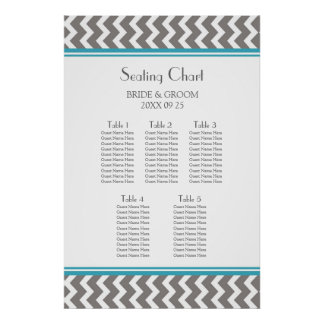 Seating Chart 5 Tables Teal Grey Chevron Poster