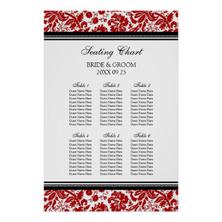 Seating Chart 6 Tables 60 Guest Red Black Damask