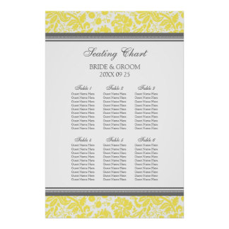 Seating Chart 6 Tables 60 Guest Yellow Grey Damask Posters