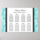 Seating Chart 8 Tables Black Aqua Damask Print