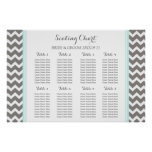 Seating Chart 8 Tables Blue Grey Chevron Poster