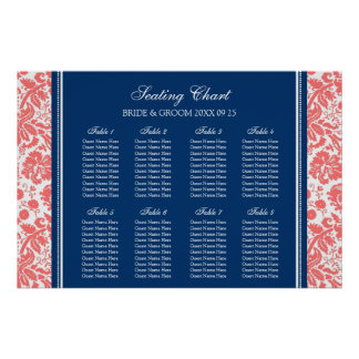 Seating Chart 8 Tables Coral Blue Damask Print