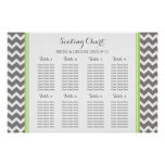 Seating Chart 8 Tables Lime Grey Chevron Poster
