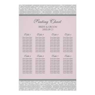 Seating Chart 8 Tables Pink Grey Damask