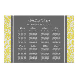 Seating Chart 8 Tables Yellow Grey Damask