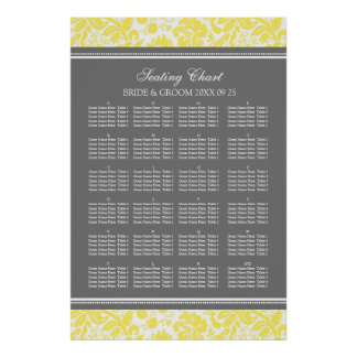 Seating Chart Alphabetical Yellow Damask Poster