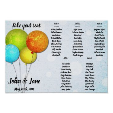 Bride Themed Seating Chart Poster - Colorful Balloons Design