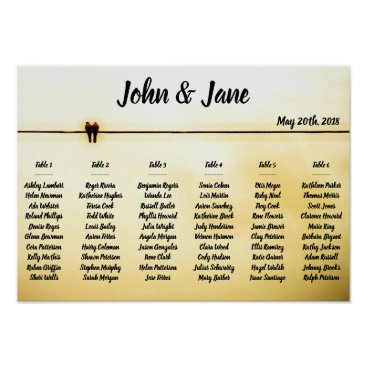 Bride Themed Seating Chart Poster - Doves Design