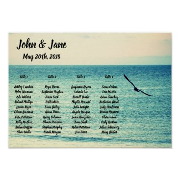 Bride Themed Seating Chart Poster - Seagull Design