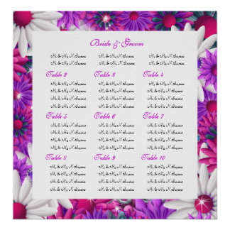 Seating charts wedding pink floral poster