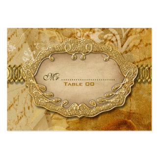 Seating gold brown vintage wedding business card template